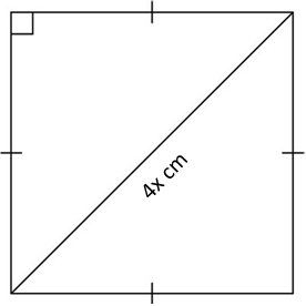 Figure 2 is a square. The diagonal is 4x cm long.